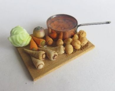 Copper pan board with carrots