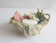 Wash basket with clothes pegs