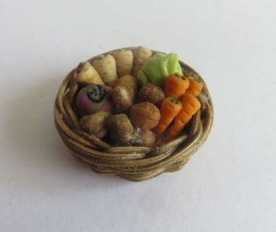 Shallow basket of vegetables